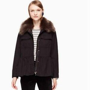 kate spade faux fur trim military jacket small NWT